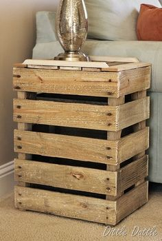 Creative Pallet Furniture Designs...add light inside for a really cool night light!