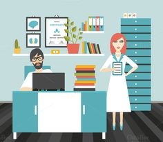 Doctor and nurse workplace. by VectorAN on @creativemarket