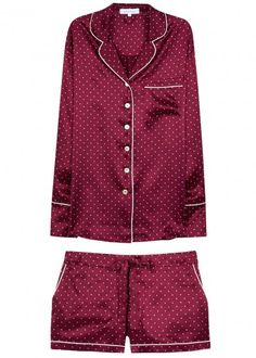 Olivia von Halle - Burgundy Silk Pyjama Set