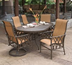 Pride Family Brands' Veranda Collection Outdoor Sling Dining - Handcrafted of extruded and cast aluminum for lasting beauty and comfort.