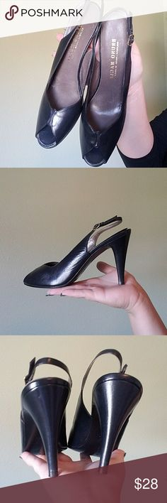 👜 Bruno Magli Italian Heels Authentic black leather Heels by Bruno magli in size 6. These have normal wear but still in amazing shape. Scalloped detail with peep toe and Italian sole. Bruno Magli Shoes Heels