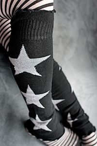Sparkly stars, three to each side, with ribbed and ruffly cuffs. Anti Fashion, Star Fashion, Thigh High Socks, Thigh Highs, Roller Derby Clothes, Soft Legs, Star Clothing, Winter Tights, Lady Stockings