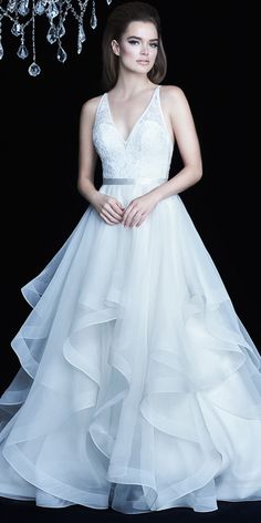 Glamorous Tulle & Organza V-neck Neckline A-Line Wedding Dress With Beaded Lace Appliques & Ruffles