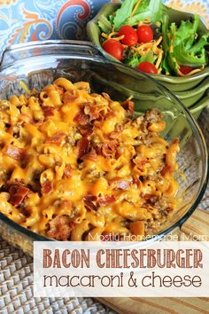 Bacon Cheeseburger Mac & Cheese - This easy meal combines the flavors of a bacon cheeseburger with delicious macaroni & cheese - oven to table in less than 30 minutes! #RollIntoSavings #shop