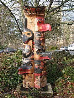 Northwest Coast Clan Pole Carved by Wayne Hewson
