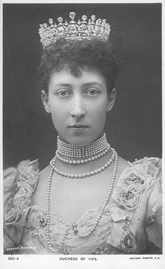 Princess Louise, the Duchess of Fife, was the daughter of King Edward VIII and Queen Alexandra, and the granddaughter of Queen Victoria.  She married for love, her third cousin, Alexander Duff, the 6th Earl and first Duke of Fife.  The Fifes had two living daughters.  Had she so wished Louise could have married royalty.  She was quite a catch for the Duke, some 18 years her senior.