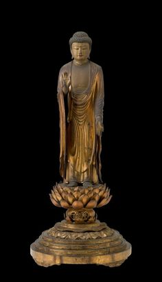 Standing Amit^abha (Japanese: Amida), Buddha of the Western Paradise. Kamakura 1200's. Japan.   Indianapolis Museum of Art