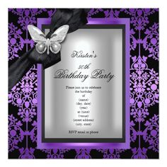 50th Birthday Party Purple Silver Damask Butterfly Card Decorations