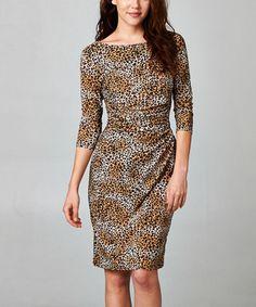 Look at this #zulilyfind! Black & Rust Leopard Three-Quarter Sleeve Dress #zulilyfinds