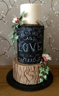I've always wanted to make a chalk board and log effect cake so I made this for a wedding fair. It was my first fair and I had great feedback on my cake styles! For the first time I'm going to enter into this years cake international at the NEC...