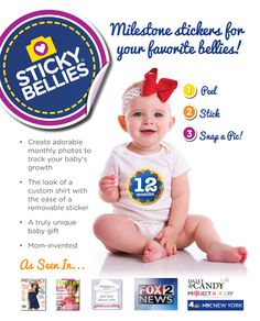 Sticky Bellies monthly onesie stickers! Make monthly pictures stylish & convenient! For babies, toddlers and pregnant mamas, too!