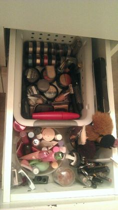 Organize your make-up into 1 tidy drawer and purge the old stuff!  It'll leave you feeling productive and organized every morning when you get ready!  This one is my personal end result. :)