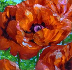 Poppy Original Flower Oil Painting on Small Canvas by NuFineArt5