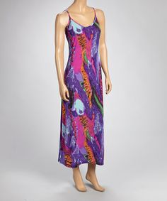 Look at this #zulilyfind! Fuchsia & Purple Abstract Maxi Dress #zulilyfinds