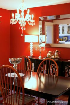 Regency Style And Red In The Dining Room