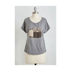 Scholastic Mid-length Hey Good Bookin' Tee by ModCloth ($30) ❤ liked on Polyvore featuring tops, t-shirts, apparel, graphic tee, grey, grey tee, grey t shirt, graphic tops, cat graphic tees and short sleeve t shirts