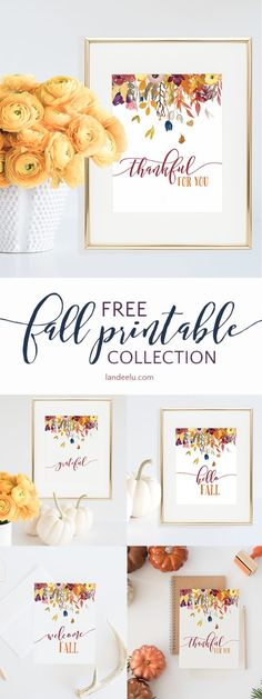 BEAUTIFUL PRINTABLE FALL DECOR- 4 DESIGNS