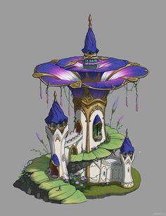 Elf house, MEMESU . on ArtStation at https://www.artstation.com/artwork/16zyK