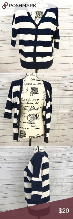 Forever 21 Navy & White Striped buttoned Cardigan Cute cozy Navy and white striped Cardigan by forever 21. 3/4 sleeves and buttons down. Minor signs of wear but still in excellent condition!  Like the item, but not my price? Make me an offer! Always wiling to negotiate ☺️🙃 Forever 21 Sweaters Cardigans
