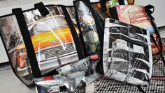 Bags made out of old posters