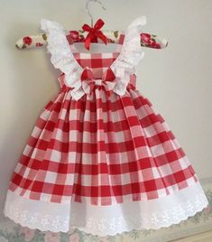 Red and White Checked Gingham Dress White Lace Frills Sun dress Party Dress Size 1 Handmade Ready to Ship Cotton Dress Little Dresses, Little Girl Dresses, Girls Dresses, Flower Girl Dresses, Baby Dresses, Dress Girl, Girl Dress Patterns, Baby Patterns, Gingham Dress