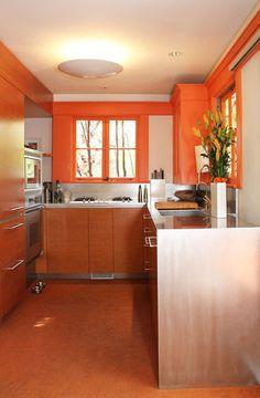 Sleek and sunny orange kitchen walls. Orange Kitchen Walls, Kitchen Wall Colors, Orange Walls, Kitchen Layout, Kitchen Spotlights, Rainbow Kitchen, Beach Cottage Style, Stylish Kitchen, Warm Kitchen