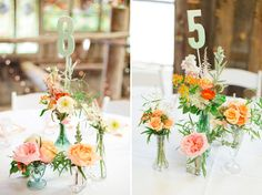 For you Lia: Spring flowers with mix-matched vases