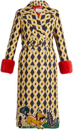 GUCCI Geometric-print fur-trimmed wool-blend coat by Gucci  GUCCI Geometric-print fur-trimmed wool-blend coat by Gucci  Available Colors: YELLOW MULTI  Available Sizes: 38 IT 40 IT 42 IT  DetailsThis yellow beige and navy geometric-print wool-blend coat encapsulates Gucci's brand of vintage drama. A trim of embroidered felt animals runs around the calf-length hem while postbox-red mink fur trims the cuffs. Follow the label's more-is-more formula and belt it over colour-pop trousers.
