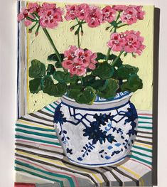 Flowers In Vase Painting, Floral Paintings, Painted Flowers, Pink Geranium, Painting Still Life, Spring Art, Pottery Painting, Old Art, Geraniums