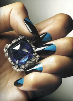 Harry Winston sapphire diamond ring and great manicure.