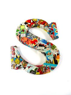 Super hero letter - great idea for a little boy room