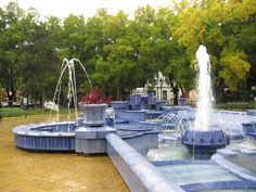 Subotica, Serbia - Blue fountain on rainy day