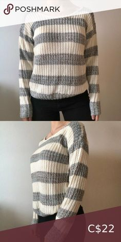 Suzy Shier Wool Sweater Striped Wool sweater Worn once Great condition Long Sleeve Grey stripes made with blue and brown yarn Fitted bottom edge Suzy Shier Tops Tees - Long Sleeve Mustard Yellow Top, Lace Halter Bralette, Grey Zip Ups, Striped Crop Top, Zip Up Sweater, Shoulder Shirts, Suzy, Wool Sweaters, Grey Stripes