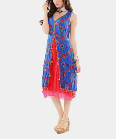 Another great find on #zulily! Royal Blue & Red Split-Front Sleeveless Dress by EVVEL  #zulilyfinds