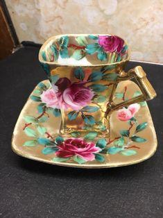 RARE Antique Nippon Japan Bone China Demitasse Tea Cup & Saucer Floral Gold Rose #midcentury #Nippon