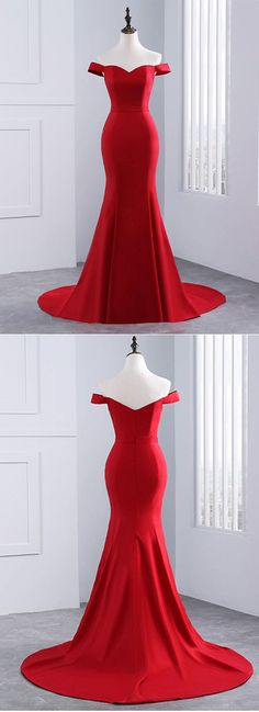 Elegant Red Off The Shoulder Prom Dress, Sweetheart Mermaid Long Evening Gown With Sweep Train