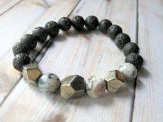 Mens Bracelet  Lava Stone and Agate Beaded  by JemsbyJBandCompany