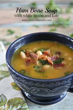 Rich in flavor, this hearty ham bone soup with white beans and kale is delicious comfort food!