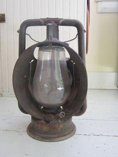 Antique Railroad Lantern Glass Globe Star Head Light by Bingville, $112.00