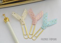Soft Pastels Gold Polka Dots Ribbon Trio Planner Paper Clips for Your Erin Condren Filofax Kikki K Happy Planner by PeoniesPaperie on Etsy (null)