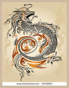 Dragon Doodle Sketch Tattoo Icon Tribal grunge Vector Illustration Art