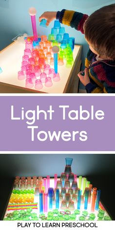 Light Table Towers for Preschoolers Our preschoolers love building and creating on the light table using transparent toys. They explore color theory by mixing and matching. This activity is great for hand-eye coordination and muscle control. Sensory Table, Sensory Bins, Sensory Activities, Preschool Activities, Preschool Curriculum, Preschool Science, Preschool Classroom, Early Learning, Kids Learning