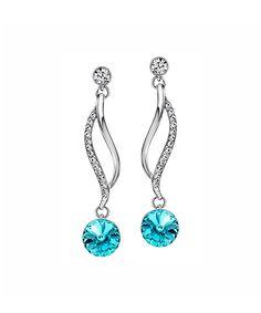 9b1df760c callura Light Turquoise & Rhodium Drop Earrings With Swarovski® Crystal