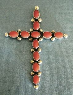 Huge Bold Vintage Native American Signed Sterling Silver and Coral from delmartwo on Ruby Lane