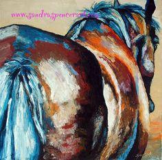 Original BIG Horse Oil Painting 18x18 via Etsy.