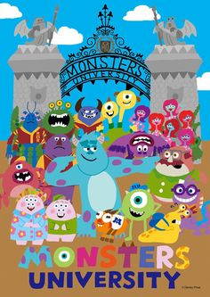 Monsters University by Unknown Disney Artwork, Disney Fan Art, Disney Drawings, Film Disney, Disney Love, Disney Magic, Disney And Dreamworks, Disney Pixar, Disney Monsters