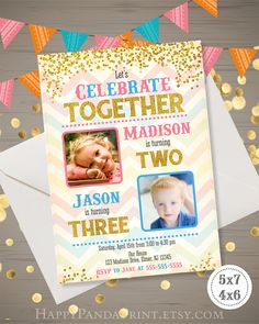 Bright joint birthday invitation combined birthday double birthday gold glitter joint birthday party photo invitation for siblings or twins stopboris Image collections