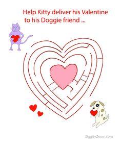 Free Valentine's Day Heart Maze Printable- #valentines