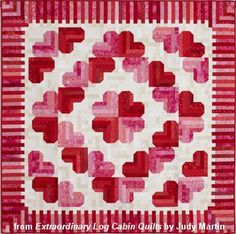 """Honeymoon Log Cabin quilt - Extraordinary Log Cabin Quilts, 2013. The book is due out in the fall of 2013. Designed and pieced by Judy Martin. Quilted by Lana Corcoran. 62"""" x 62"""" Alternate size of 62"""" x 78"""" also presented."""