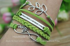 Leaf Bracelet Motto Bracelet Infinity love by HandmadeTribe, $4.29 Stylish leather cuff bracelet